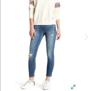 MOTHER the looker crop blue rough it up jeans!